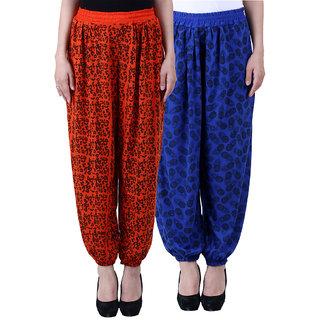 NumBrave Printed Viscose Orange Blue Harem Pants (Pack of 2)