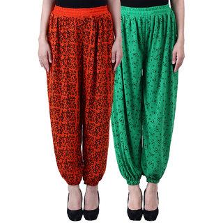NumBrave Printed Viscose Orange Green Harem Pants (Pack of 2)