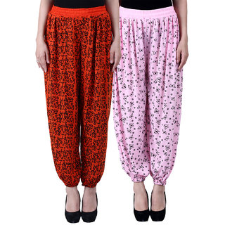 NumBrave Printed Viscose Orange Light pink Harem Pants (Pack of 2)