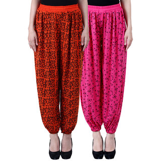 NumBrave Printed Viscose Orange  Pink Harem Pants (Pack of 2)