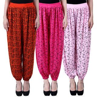NumBrave Printed Viscose Orange Pink Light pink Harem Pants (Pack of 3)