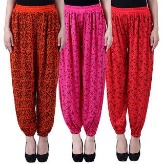 NumBrave Printed Viscose Orange Pink Red Harem Pants (Pack of 3)