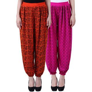 NumBrave Printed Viscose Orange Purple Harem Pants (Pack of 2)