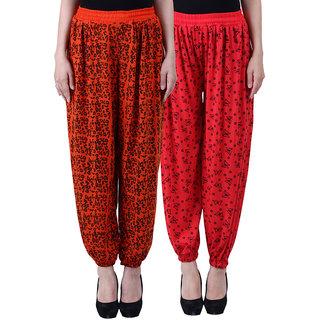 NumBrave Printed Viscose Orange Red Harem Pants (Pack of 2)