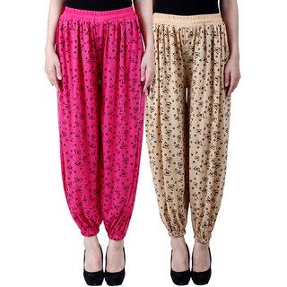 NumBrave Printed Viscose Pink Beige Harem Pants (Pack of 2)
