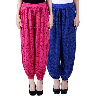 NumBrave Printed Viscose Pink Blue Harem Pants (Pack of 2)