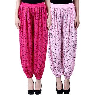 NumBrave Printed Viscose Pink Light pink Harem Pants (Pack of 2)