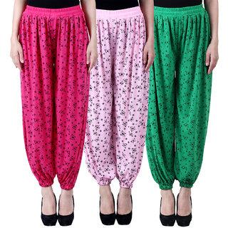 NumBrave Printed Viscose Pink Light pink Green Harem Pants (Pack of 3)