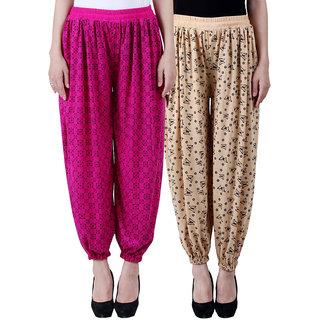NumBrave Printed Viscose Purple Beige Harem Pants (Pack of 2)
