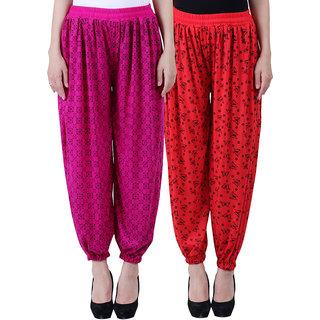NumBrave Printed Viscose Purple Red Harem Pants (Pack of 2)