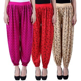 NumBrave Printed Viscose Purple Red Beige Harem Pants (Pack of 3)