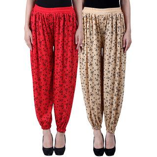 NumBrave Printed Viscose Red Beige Harem Pants (Pack of 2)