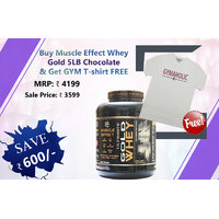 Gym T-shirt Free With Muscle Effect Whey Gold 5 LB Chocolate