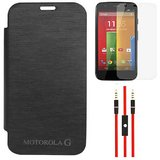 Black Flip Cover Case For Motorola Moto G XT1032 With AUX Cable, Screen Guard