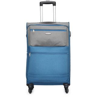 Aristocrat Medium (Between 60-69 cms) Blue Polyester 4 Wheels Trolley