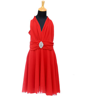 Aarika Girls Layered Red Dress