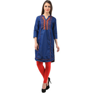 Blue color dainum kurti with a great design