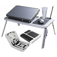 E-Table Portable Laptop Stand Foldable ETable With 2 USB Cooling Fans Notebook Laptop Sony Samsung Apple Mac Book Air Pro