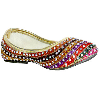 Panahi Multicoloured Belly Shoes for Kids and Girls ...