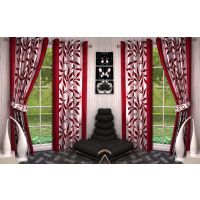 Red,White Polyester Door Eyelet Stitch Curtain 7 Feet (Combo Of 4)