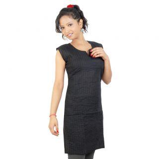 14Fashions Black Geometric Cotton Stitched Kurti