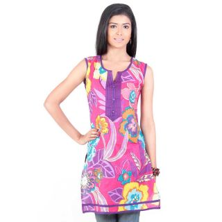 14Fashions Blue Printed Cotton Stitched Kurti