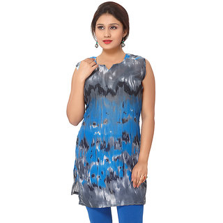 14 Fashions Animal Print Blue Cotton Casual Kurti For Women - 1602211