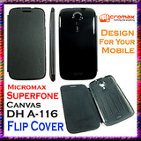 flip cover micromax a116 canvas hd black available at ShopClues for Rs.99