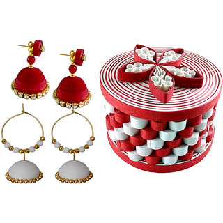 Handmade Paper Quilling  Red dangler Earrings and white jhumka earrings with gifting designer box