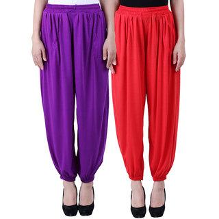 NumBrave Solid Viscose Purple Red Harem Pants (Pack of 2)