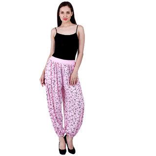 NumBrave Printed Viscose Light Pink Harem Pants
