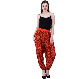 NumBrave Printed Viscose Red Black Harem Pants