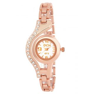 DCH Round Dial Rose Gold Metal Strap Analog Watch For Women