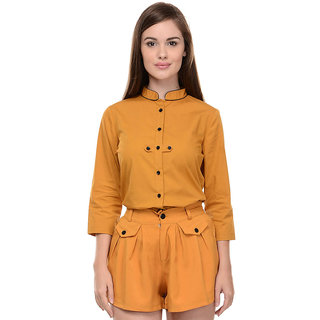 I Know Womens Casual Yellow Shirt