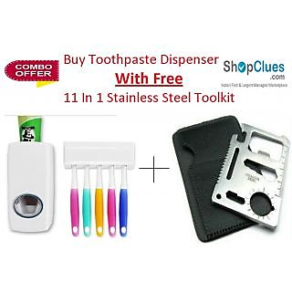 Combo of Toothpaste Dispenser and 11 In 1 Stainless Steel Toolkit - CMT11I1