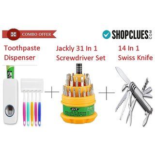 Combo Offer Toothpaste Dispenser + Jackly 31 In 1 + 14 In 1 Steel Knife - CMTRSF14