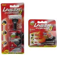 Laser Control 3 One Reusable Triple Blade Razor + 5 Cartridges + 4 Triple Blade Cartridges (Set of 2)