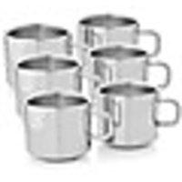 Power Plus Tea Cup Set Of 6 Pcs-Qute Double Wall Steel