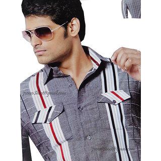 Cool & Smart New Design Men's Linen & Cotton Mix Rich Shirt Fabric  (1121)