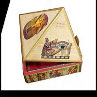 Wooden pyramid wish box with Egyptian Symbol