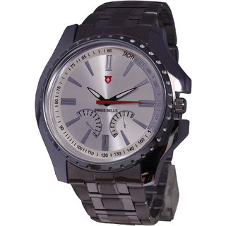 Svviss Bells Trendy White Dial Broad Stainless Steel Watch For Men