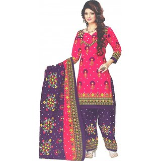 AminQuest Jaipuri Printed Pink-Blue Color Womens Cotton Dress Material (Un-stitched)
