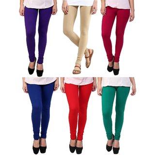 Stylobby Multi Color Legging Pack Of 6 PlBePBlRG6