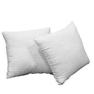 Just Linen Pair Of Ready To Use Sateen White Stripe Small Size Cushions