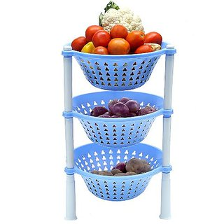 OutMad Blue vegetable and fruit Basket / trolley , 3 Rack