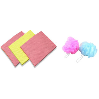 Combo of 4 Sponge Scrubber With 4 Body Scrubber