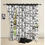 Elements Black N White Floral Curtain