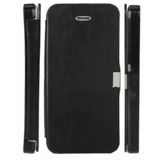 Callmate Flip Leather Case Cover For IPhone 4 With Free Screen Guard - Black