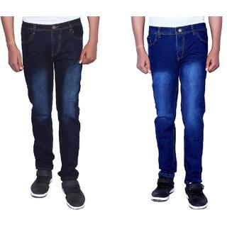 LONDON LOOKS Slim Fit Mens Black, Dark Blue Jeans (COMBO OF 2)