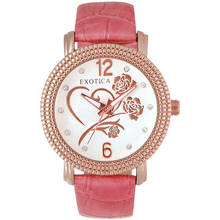 Exotica Fashions EFL704 Pink Coloured With Pink Leather Strap Quartz Watch For Women